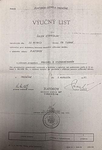 Stanislav Šulek výučný list